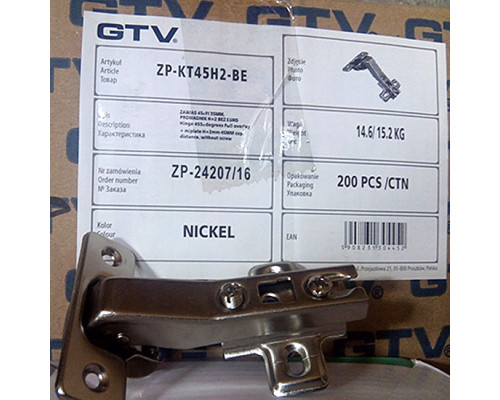 Петля GTV 45° ZP-KT45H2-BE (с монтажной планкой)