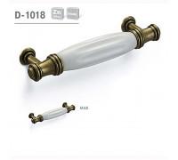 Ручка мебельная D-1018 матовая античная бронза с керамикой