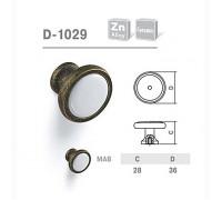 Ручка мебельная D-1029 матовая античная бронза с керамикой