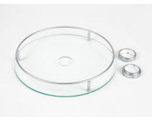 Полка стеклянная центральная d-350мм хром